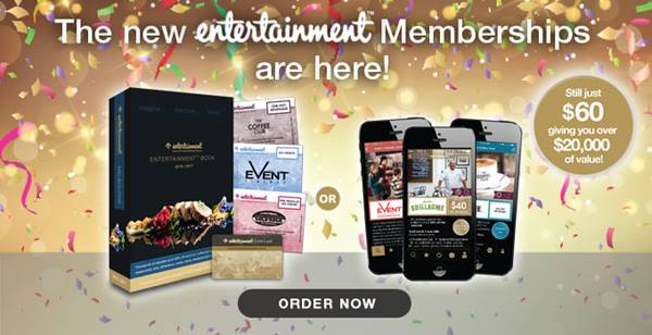 New Entertainment Book Memberships are here at Delando